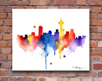 Seattle Skyline - Abstract Watercolor Art Print - Wall Decor
