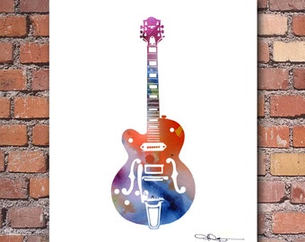 Electric Guitar Art Print - Abstract Watercolor Painting - Wall Decor