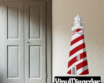 Lighthouse Wall Decal - Wall Fabric - Vinyl Decal - Removable and Reusable - BeachUscolor013ET