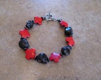 Crystal Skull Bracelet,with Howlite and Hematite beads