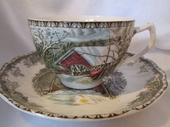 Covered Bridge Tea cup and Saucer by Johnson Bros. England Friendly Village Series