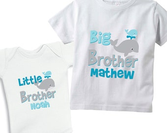 Big Brother & Little Brother Will and Willie the whales set of 2 Shirts for boys or Baby Bodysuits