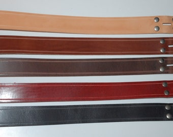 Snap Leather Belt - For Belt Buckles - Choose Color and Size - Hand Made