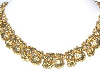80s Monet SNAZZY Shimmering Flower Motif GOLDTONE Link Necklace