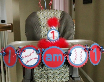 I am 1 Baseball Birthday Banner - I am 1 Birthday Banner - I am One Birthday Banner
