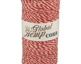 Global Hemp Red & White Baker's Twine - 1 mm - 410 Feet