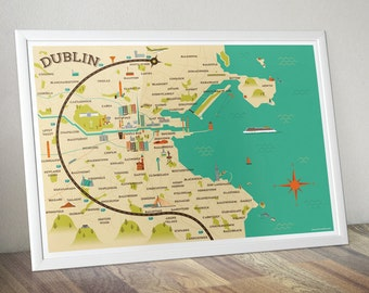 A2 size Dublin Map Illustration