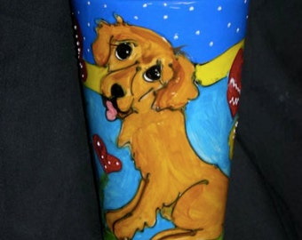 Hand Painted Ceramic Coffee Mug - Golden Retriever