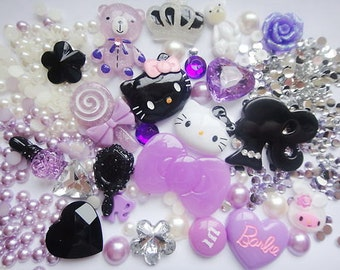 Deco Den Kit    Twin  Hello Kitty Purple Black White Cabochon
