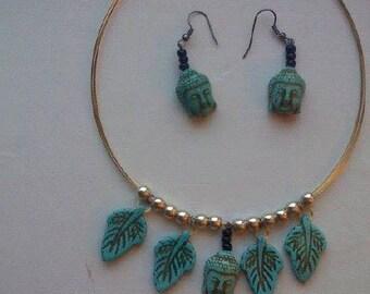 Buddha necklace and earing set