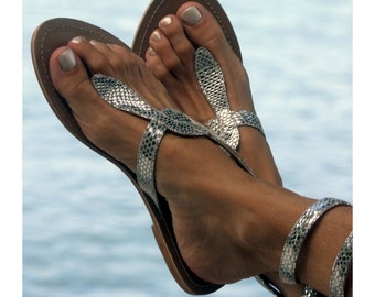 Aspiga Cobra Silver Leather Sandals
