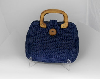 Vintage Navy Blue Woven Straw Walbo rg Bermuda Bag Clutch Handbag ...
