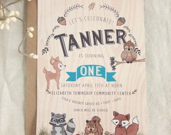 Woodland Creatures Invitation - First Birthday Woodland Animals with Deer Owl Fox Squirrel and Raccoon