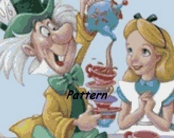 Alice In Wonderland and Mad Hatter. Cross Stitch Pattern. PDF Files.