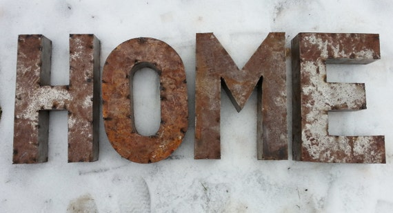Items similar to 18 inch rusted metal letters spelling for 18 inch metal letters