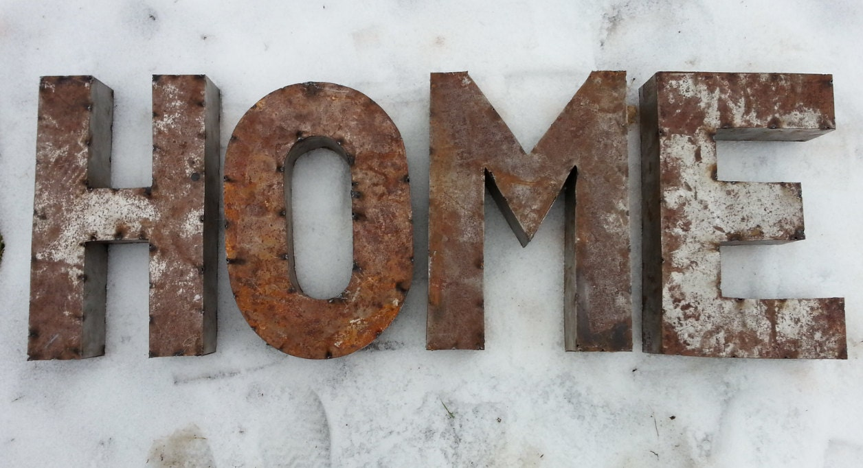 14 inch rusted metal letters spelling home crafted With rusty metal letters