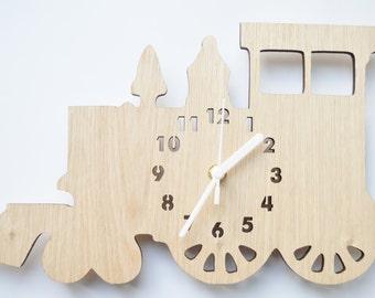 Laser cut wooden train clock