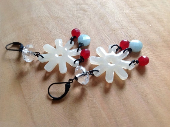 White Daisy flower earrings with jade and amazonite