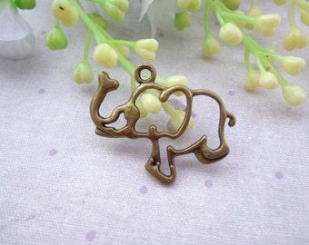 SALE--50 PCS 30x21mm Lovely Elephant Charm Pendant --Antique Bronze