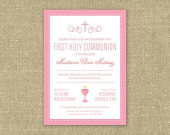 Pretty In Pink First Communion Invitation - Printable PDF