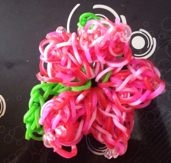 items similar to rainbow loom bracelet hibiscus flower