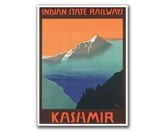 India Travel Poster Kashmir Hiking Wall Art Print (H159)