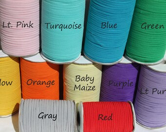 Skinny Elastic  5 10 20 Yards 1/8 Inch Colored Elastic for Baby Headbands Hair Ties and More..FREESHIP40