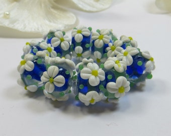 10 Blue with White Flowers Lampwork Glass 15mm Beads - DESTASH