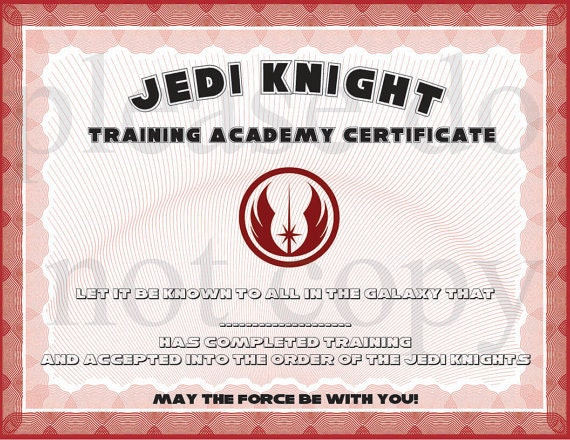 jedi knight academy certificate images