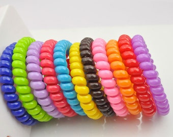 20X solid Telephone Cord Hair Tie, large size elastic hair tie,ponytail holders,telephone line ponytail holders.