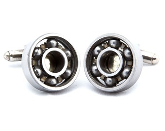Wheels of Steel Cufflinks - made from ball bearings. Ball Bearing Cufflinks. Up-cycled Cufflinks. Handmade in the UK