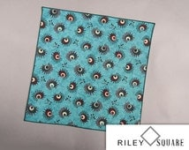 Aqua, Burgundy and Teal Pocket Square/Whimsical Pocket Square/Handkerchief/Fashion