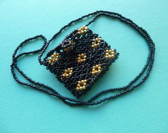 Hippie Necklace Mini Purse Gold and Black Beaded Medicine Bag 1980s
