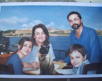 Family portrait,Custom portrait painting,wedding portrait,couple portrait,pet portrait,children hand painted portrait oil painting