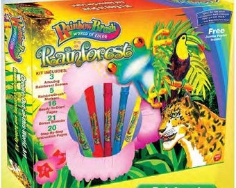 Rainbow Brush - RAINFOREST + 10 extra PENS + Blendable, Self-cleaning, Watercolour Calligraphy Brush pens, clip together