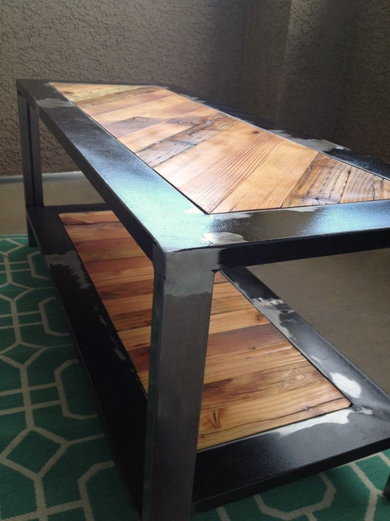 items similar to industrial rustic coffee table reclaimed from salvaged wood and metal on etsy. Black Bedroom Furniture Sets. Home Design Ideas