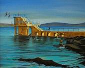 Ireland, Fine Art Giclee print, Galway, Landscape, Salthill, Blackrock, Prom, copy from an Acrylic painting