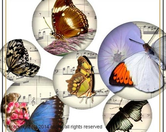 Butterfly and Spring Flowers 1 inch circles digital collage sheet 0007