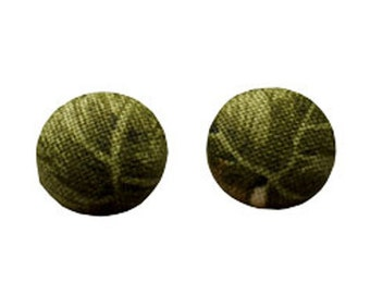 Green leaf fabric stud earrings