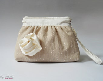 Clutch / Bridesmaid Clutch / Makeup Bag / Cosmetic Case / Wedding Gift / Zippered Clutch / Clutch with flower