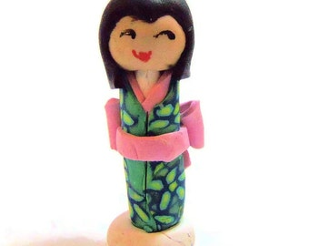 Mini Japanese Kokeshi Doll - Polymer Clay Art Doll - Mini Doll - Kawaii Doll - peg doll