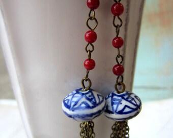 Lantern Tassel Swing Earrings. Hand Painted Ceramic Beads, Boho Jewelry, Dangle Earrings,  by Skippingstones. FREE SHIPPING Worldwide!!