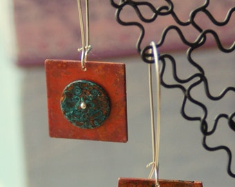 Contrasting Circular Copper with Silver Earrings