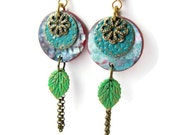Aqua Dangle Earrings with Leaf Charm and Chain  Mixed Media Altered Metal Polymer Clay Boho Chic Rustic Gypsy Hippie