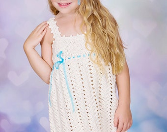 Wishes - Crochet Pattern Sundress and Sunhat Sizes 12  mos - Girls Size 9/10