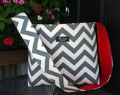 Gray Chevron Large Bucket Bag