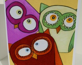 "Greeting Card Set of 3 ""Owl Trio"", a colorful cluster of owls, or mix and match your own custom set"