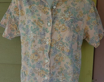 Vintage 80s 90s Casey & Max Faded Romantic Floral Grunge Boxy Blouse Shirt Top Size Small