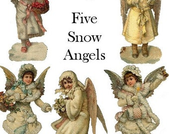 SNOW ANGELS DOWNLOAD vintage images Victorian Christmas angelic girls children holidays cards antique winter ephemera printables die-cuts