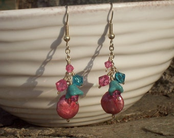 Pink Coin Pearl, Swarovski Crystal and Czech Glass Flower Earrings
